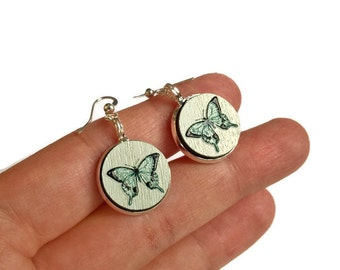 Wood earrings, butterfly earrings, wood jewelry, gift for her, butterflies, blue, blue butterflies, blue earrings, embossed earrings