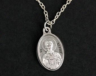 Saint Blaise Necklace. Catholic Saint Necklace. St Blaise Medal Necklace. Patron Saint Necklace. Catholic Jewelry. Religious Jewelry.