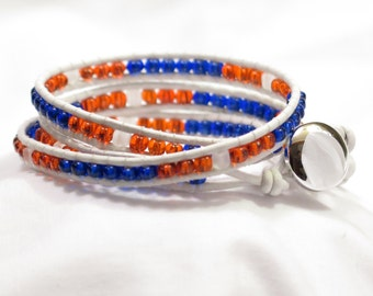 """Leather Wrap Bracelet - Orange, Blue and White Leather 7"""" - 3 Layers - GO BRONCOS made in Colorado"""