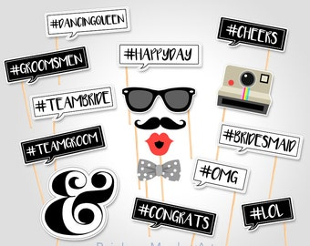 Wedding Photo Booth Props - Hashtag Photo Booth Props - Bridal Shower Photobooth Props - Bachelorette Party Props