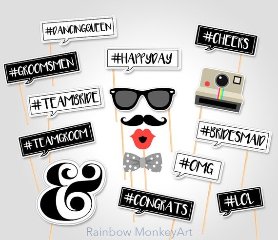 Wedding Photo Booth Props Hashtag Photo Booth Props Bridal