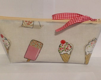 SALE, Pencil case. Makeup brush pouch. Felt pen bag. Make-up bag. Cosmetic case. ice cream and lollies design in PVC fabric.