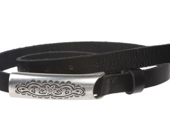 "3/4"" (19mm) Engraved Floral Rectangular Skinny Vintage Oil Tanned Solid Leather Casual Belt(100927)"