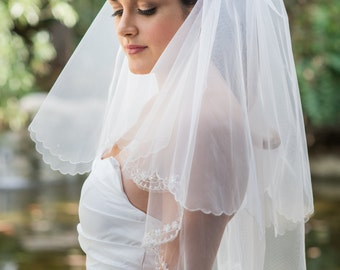 Two Tier Veil with Silver Threading and Floral Beading
