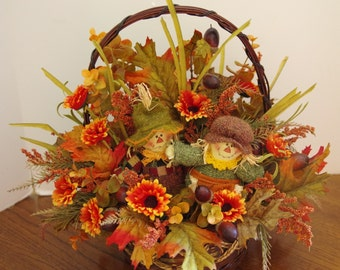 Fall Silk Basket Arrangement with Boy and Girl Scarecrows