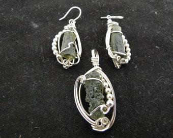 Moldavite Silver Wrap Pendant and Earrings