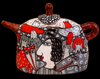 Teapot red and gray, Сeramic teapot with ornament, teapot with decor, ceramic ware, cafetiere, ceramic teapot, teapot