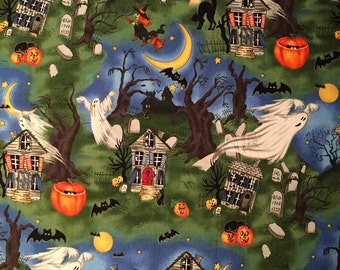 Fabric Art Scary Night-Illustrated by Laurie Godin Home Decor-Pillow-Iron Wall Hanging 100% Quality Cotton  Fat 1/4 Yard or Yardage