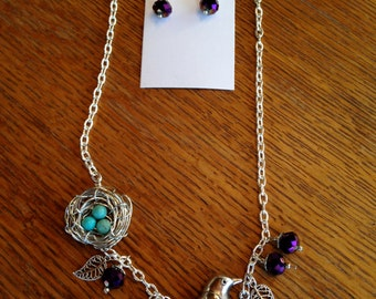 Silver Bird Necklace and Earring Set