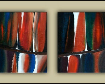 "SALE Original Paintings, Framed Abstract painting, Set of 2 Textured Acrylic painting, contemporary, 24""x40"" Ready to Hang"
