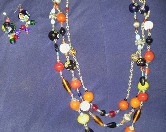 3 strand vintage venetian glass necklace and earrings