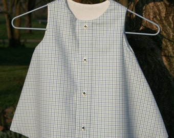 Lime Green and Blue Plaid Dress/Jumper with Embroidered Buttons