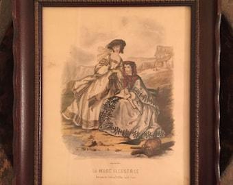 Vintage La Mode Illustree Reproduction Print by Parisian Artist Adele Anais Toudouze | Framed Print of Two Victorian Women