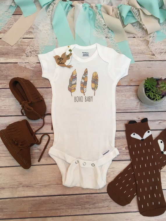Baby Gifts For Hippie Parents : Boho baby clothes hippie feathers onesie? newborn photo