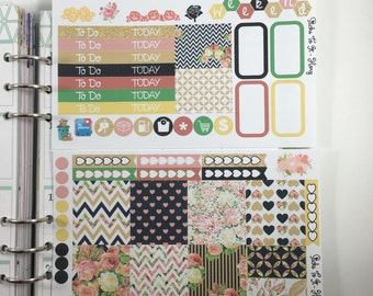 Black and Gold Roses Mini Weekly Set ECLP Horz & Vert Planner Stickers Full Week Set Floral ECLP Mambi Inkwell Press Filofax KikkiK Happy
