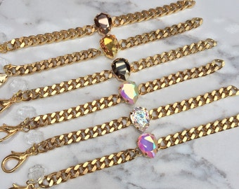MERMAIDS TEARS Gold Bracelet || Swarovski Pear Crystal  || Stackable || Arm Stack ||Bracelet || Gold Chain || Curb Chain