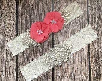 Wedding garter, coral garter, rhinestone garter, ivory garter, garter toss, lace and pearl, wedding garter set, garter set