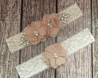 Wedding garter, khaki garter, rhinestone garter, ivory garter, garter toss, lace and pearl, wedding garter set, garter set