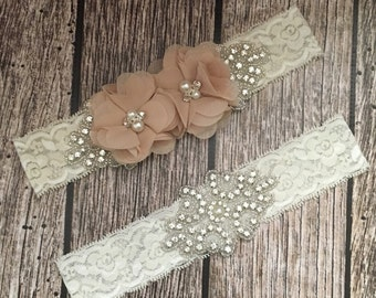Wedding garter, khakie garter, rhinestone garter, ivory garter, garter toss, lace and pearl, wedding garter set, garter set