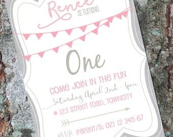 Birthday Party Invitations - Any Age - Bunting Invitation