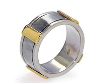 SALE 20% Off - Gold Men's Wedding Band, Stainless Steel Wedding Band, Sterling Silver Wedding Band for Men, Wide Wedding Band