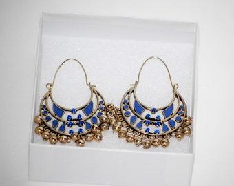 Blue and Golden Chandelier Earrings