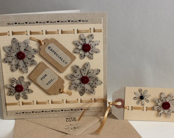 Handmade Rustic / Shabby Chic Mothers Day card and matching Gift Tag
