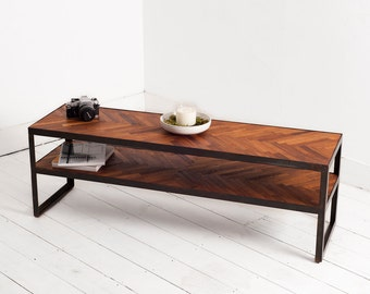 Limited Edition Parquet Flooring Entertainment Unit With Industrial Style Legs