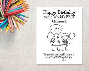 Birthday Coloring Printable- Boy & Mom (pony tail)- Birthday Card to Mommy from Son