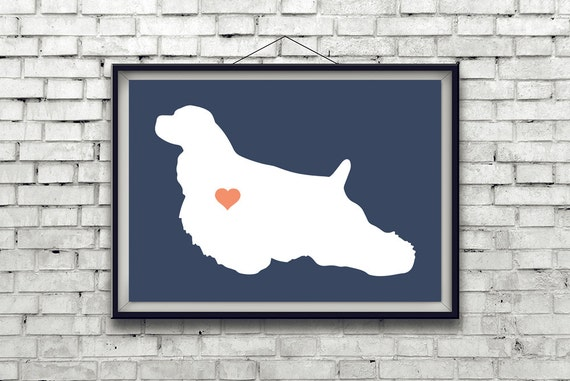 Custom American Cocker Spaniel Silhouette Print with Heart