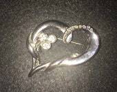 Twisted Heart Silver tone costume brooch costume jewelery  gift  heart  rhinestone  double heart