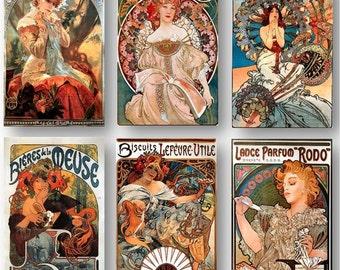 Alphonse Mucha Art Noveau Art Deco Vintage French Poster Ads Set of 6 Art Prints