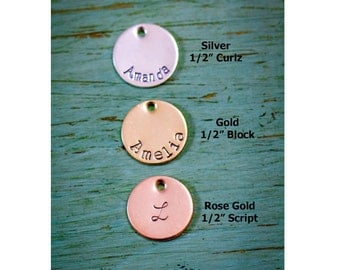 SALE • 1/2 inch Disc Add-On • Sterling Silver Disc • 14K Gold Disc • 14K Rose Gold Disc • Personalized Disc • Handstamped Disc • Small Charm