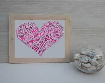 Personalized Word Cloud, For Anniversary Gift, Wedding, Birthday, Love, Valentine Day