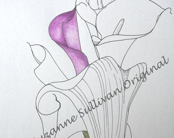 Calla Lily Coloring Page, Spring Coloring Page, Flower Coloring Page, Adult Coloring Page, Stress Relief,  Printable Download, Coloring Page