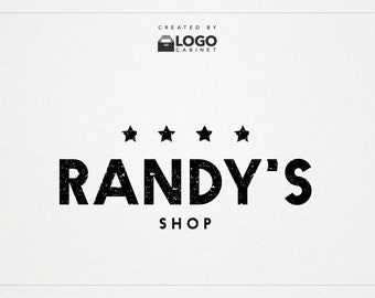 Stars Logo - Rustic Logo - Shop Logo - Premade Logo - Modern Logo - Text Logo - Customizable / 014