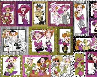 Loralie Designs Ladies Tea Fabric Panel Tea Fabric Ladies Fabric Novelty Fabric