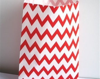 25 Paper bags, party bags, Wedding favour bags, Birthday party bags, party supplies chevron stripes flower paper bags shop packaging