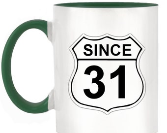US Route 66 Roadsign 31 2-Tone Mug with matching handle and inner - 10 colours available