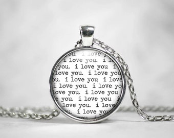 I love you Necklace, Love Pendant Keychain