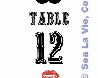Mustache & Lips Table Numbers