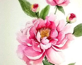 Water color- Pink flower