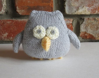 Soft Grey Hand Knitted Owl