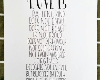Love is patient bible quote print