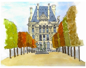Postcard - Louvre & Tuileries, Paris, greeting card, decorative stationery, card watercolor