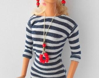 Handmade dress,nacklece and earings for Barbie dolls