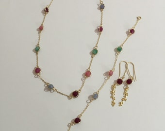 A set of gold filled jewelry .