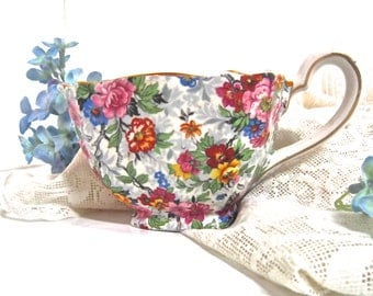 Chintz Bone China porcelain Creamer Lord Nelson Ware made in England 'Marina' pattern 1930s