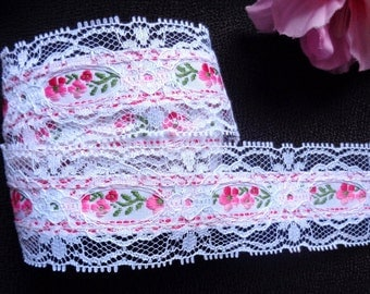 1 1/2 inch wide  lace Beading with Woven Floral. White/ Pastel Colors price per yard