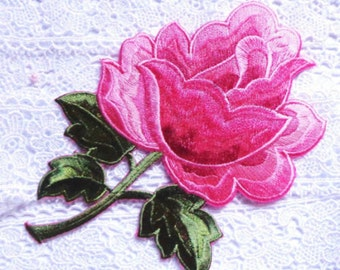 embroidered Large Rose Applique Iron On - pink